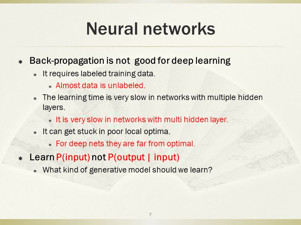 outline  Neural networks  Graphical model  Belief nets  Boltzmann machine  DBN  Reference 8