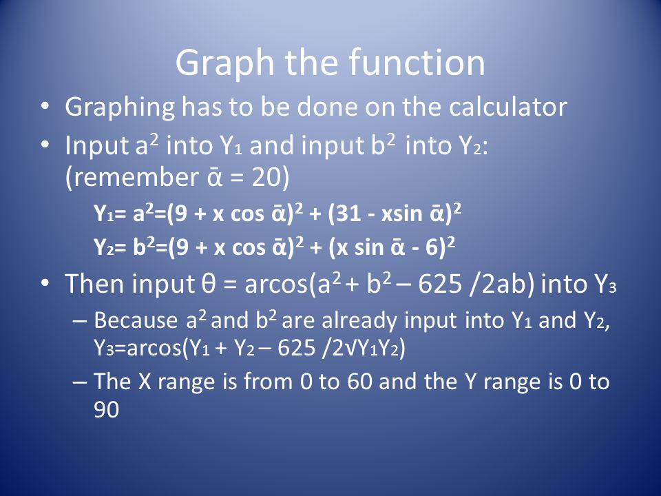 Graph the function Graphing has to be done on the calculator Input a 2 into Y 1 and input b 2 into Y 2 : (remember ᾱ = 20) Y 1 = a 2 =(9 + x cos ᾱ) 2