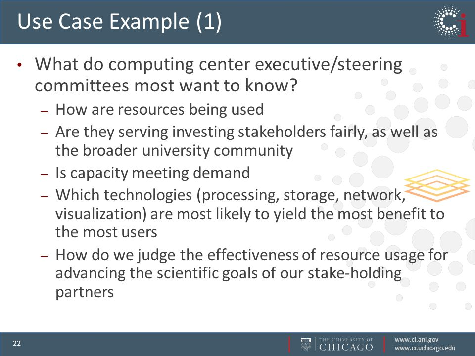 www.ci.anl.gov www.ci.uchicago.edu 22 Use Case Example (1) What do computing center executive/steering committees most want to know.