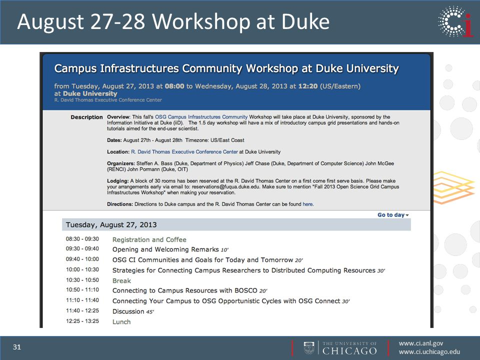 www.ci.anl.gov www.ci.uchicago.edu 31 August 27-28 Workshop at Duke