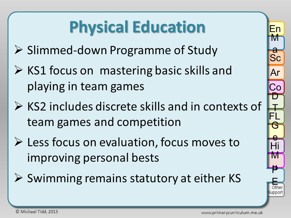 © Michael Tidd, 2013 www.primarycurriculum.me.uk Physical Education  Slimmed-down Programme of Study  KS1 focus on mastering basic skills and playing in team games  KS2 includes discrete skills and in contexts of team games and competition  Less focus on evaluation, focus moves to improving personal bests  Swimming remains statutory at either KS Physical Education  Slimmed-down Programme of Study  KS1 focus on mastering basic skills and playing in team games  KS2 includes discrete skills and in contexts of team games and competition  Less focus on evaluation, focus moves to improving personal bests  Swimming remains statutory at either KS En MaMa Sc Ar Co DTDT GeGe Hi FL MuMu PEPE Other Support