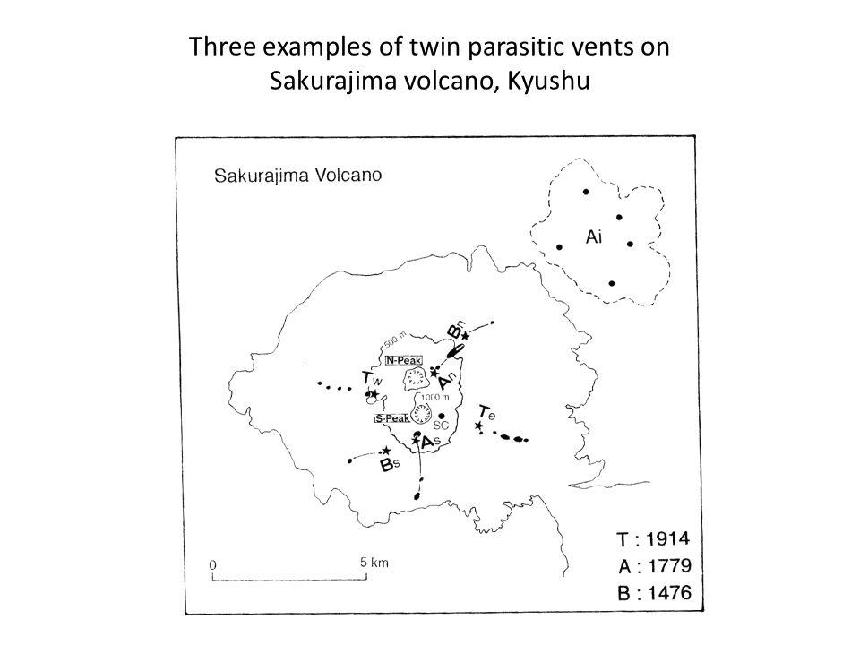 Three examples of twin parasitic vents on Sakurajima volcano, Kyushu