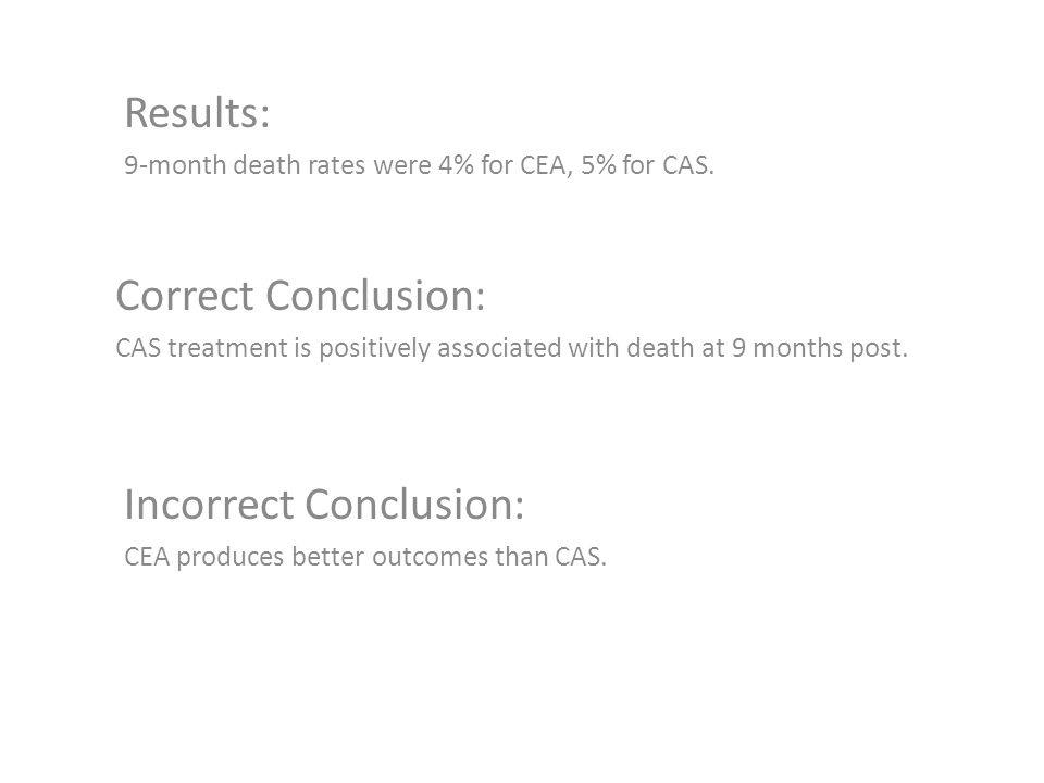 Results: 9-month death rates were 4% for CEA, 5% for CAS. Correct Conclusion: CAS treatment is positively associated with death at 9 months post. Inco