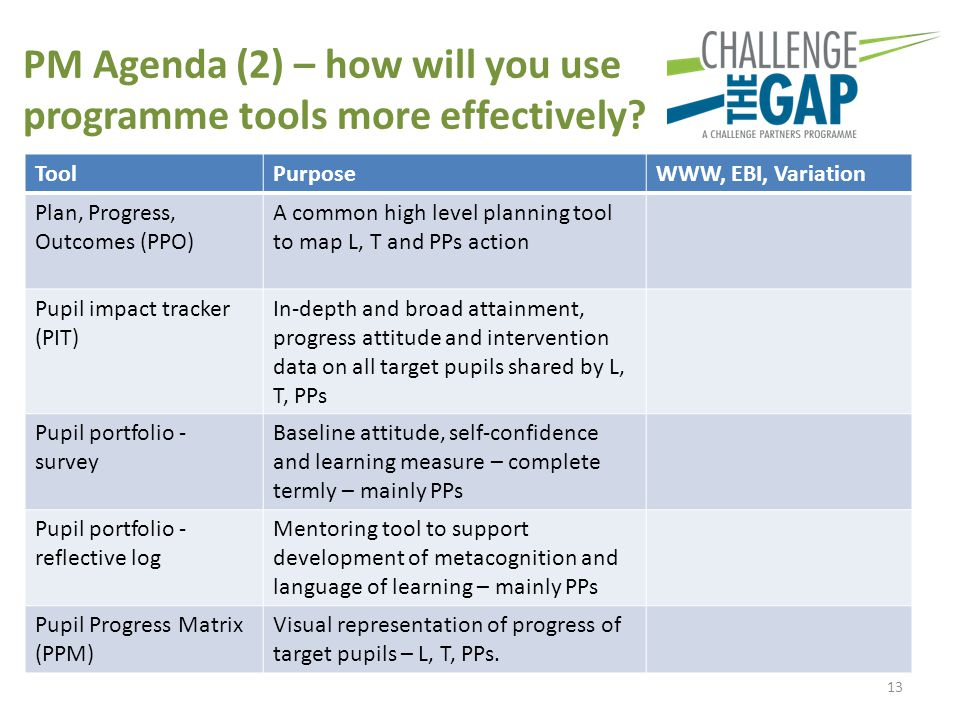 PM Agenda (2) – how will you use programme tools more effectively.