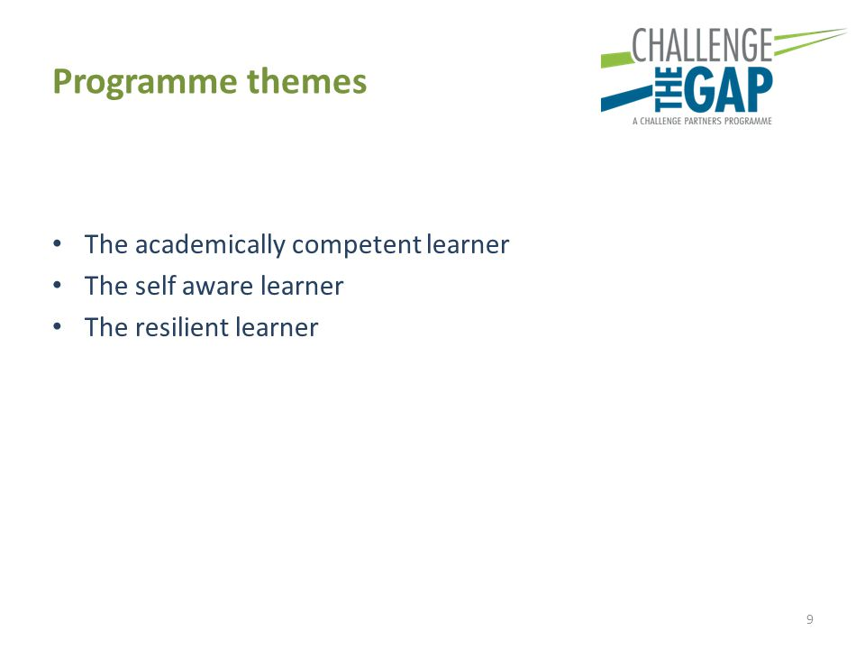 Programme themes The academically competent learner The self aware learner The resilient learner 9