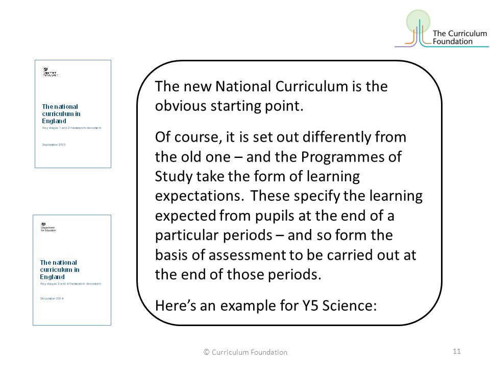© Curriculum Foundation The new National Curriculum is the obvious starting point.
