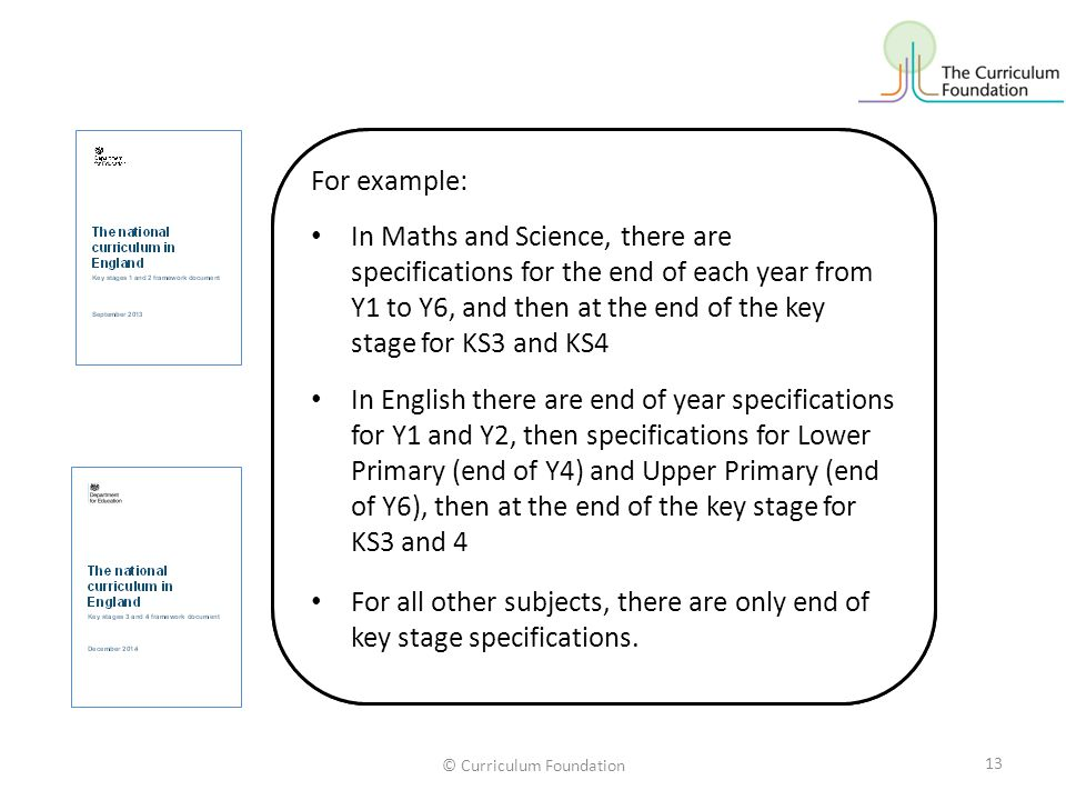 © Curriculum Foundation However, the periods for which learning expectations are specified vary across the subjects and years.