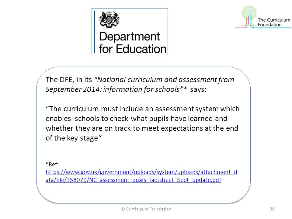© Curriculum Foundation30 The DFE, in its National curriculum and assessment from September 2014: information for schools * says: The curriculum must include an assessment system which enables schools to check what pupils have learned and whether they are on track to meet expectations at the end of the key stage *Ref: https://www.gov.uk/government/uploads/system/uploads/attachment_d ata/file/358070/NC_assessment_quals_factsheet_Sept_update.pdf https://www.gov.uk/government/uploads/system/uploads/attachment_d ata/file/358070/NC_assessment_quals_factsheet_Sept_update.pdf The DFE, in its National curriculum and assessment from September 2014: information for schools * says: The curriculum must include an assessment system which enables schools to check what pupils have learned and whether they are on track to meet expectations at the end of the key stage *Ref: https://www.gov.uk/government/uploads/system/uploads/attachment_d ata/file/358070/NC_assessment_quals_factsheet_Sept_update.pdf https://www.gov.uk/government/uploads/system/uploads/attachment_d ata/file/358070/NC_assessment_quals_factsheet_Sept_update.pdf