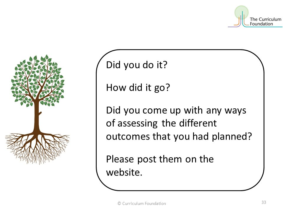 Did you do it? How did it go? Did you come up with any ways of assessing the different outcomes that you had planned? Please post them on the website.