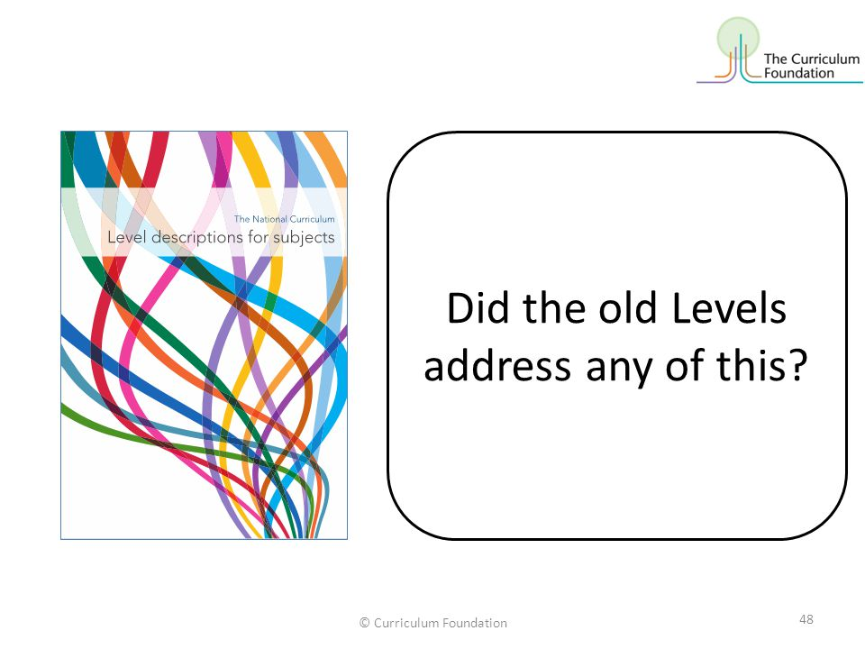 © Curriculum Foundation 48 Did the old Levels address any of this?