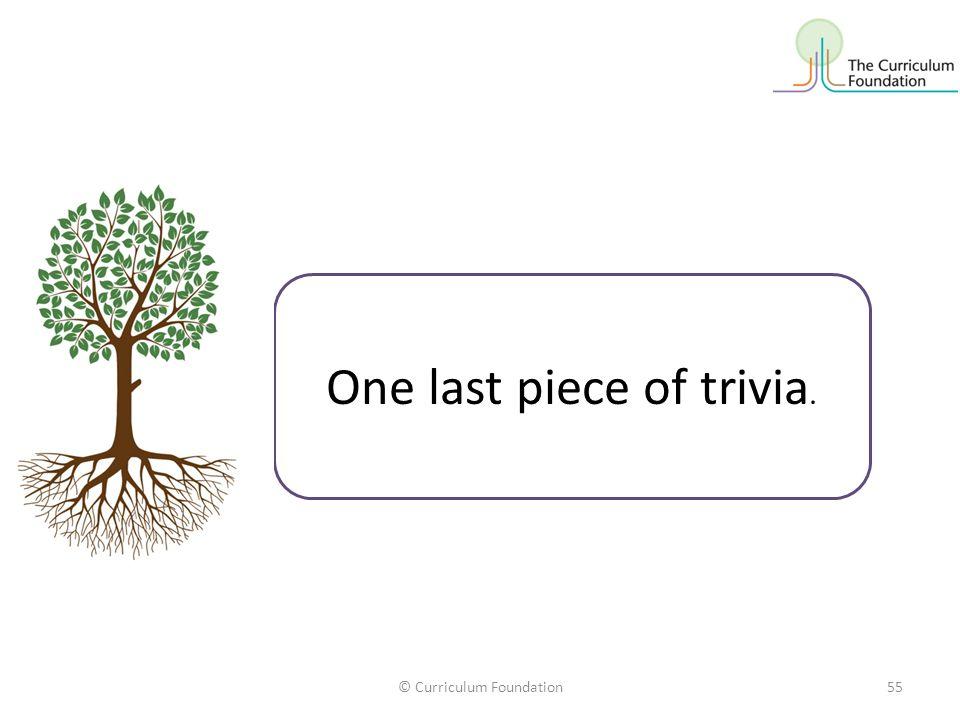 © Curriculum Foundation55 One last piece of trivia.
