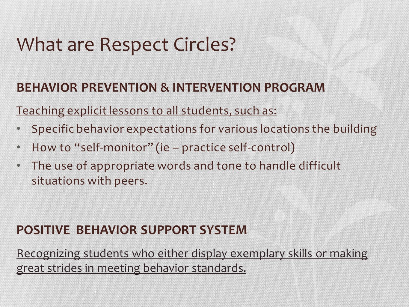 What are Respect Circles.
