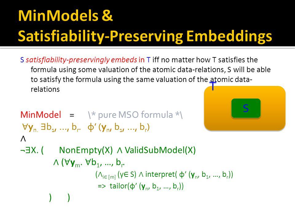 S satisfiability-preservingly embeds in T iff no matter how T satisfies the formula using some valuation of the atomic data-relations, S will be able to satisfy the formula using the same valuation of the atomic data- relations T T S S MinModel = \* pure MSO formula *\ ∀ y n.