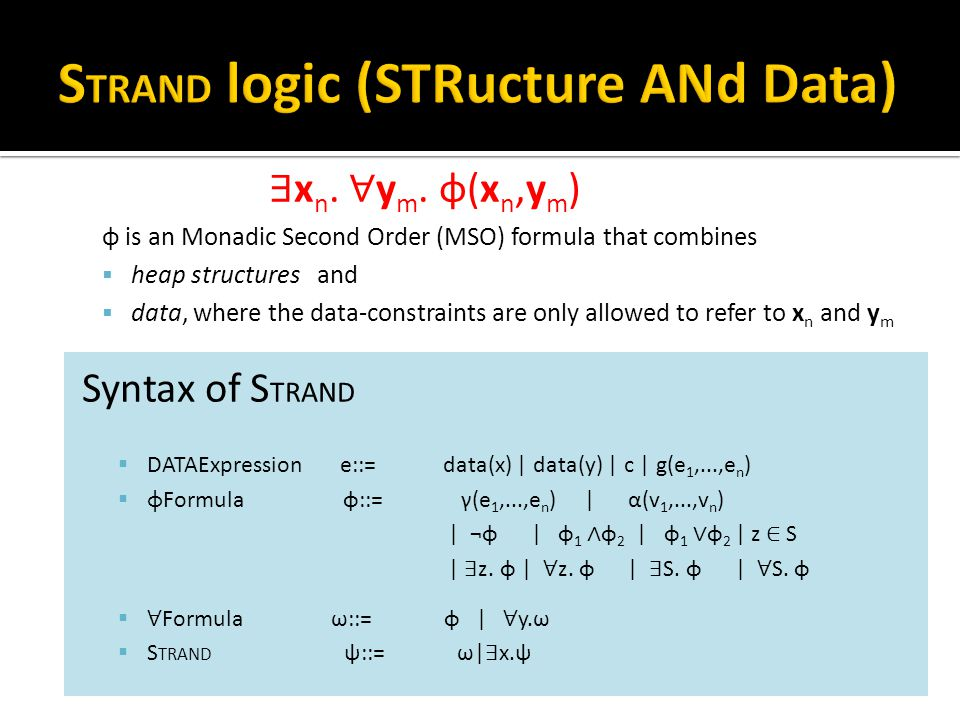 ∃ x n. ∀ y m. φ(x n,y m ) φ is an Monadic Second Order (MSO) formula that combines  heap structures and  data, where the data-constraints are only a