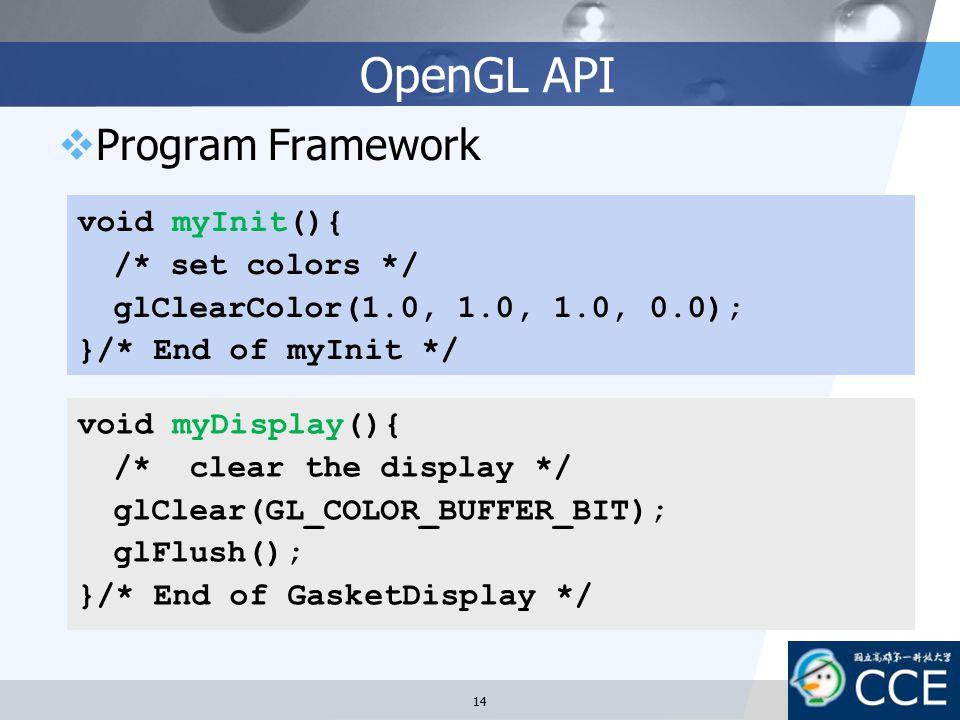 OpenGL API  Program Framework void myDisplay(){ /* clear the display */ glClear(GL_COLOR_BUFFER_BIT); glFlush(); }/* End of GasketDisplay */ void myI