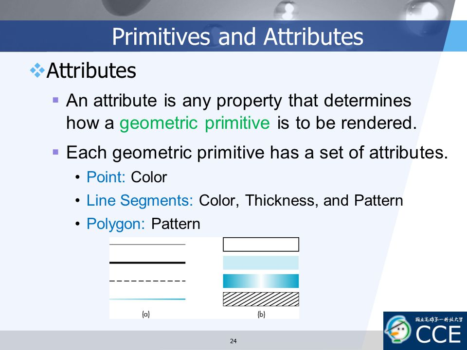 Primitives and Attributes  Attributes  An attribute is any property that determines how a geometric primitive is to be rendered.  Each geometric pr