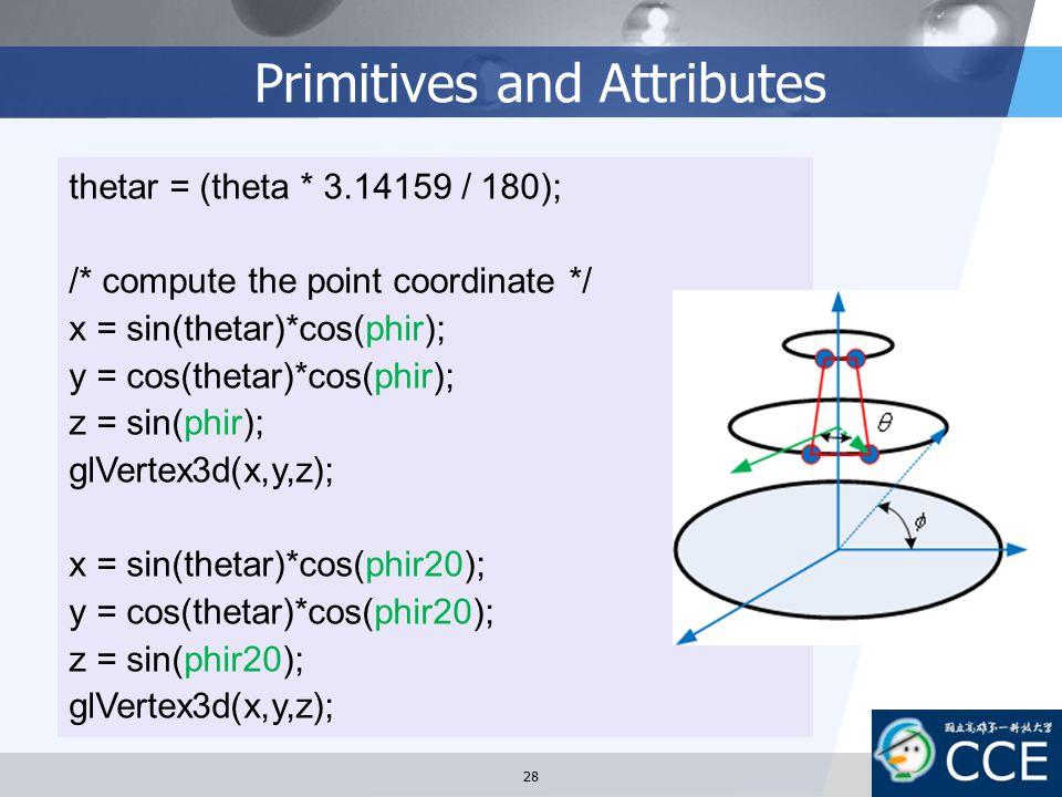 Primitives and Attributes thetar = (theta * 3.14159 / 180); /* compute the point coordinate */ x = sin(thetar)*cos(phir); y = cos(thetar)*cos(phir); z
