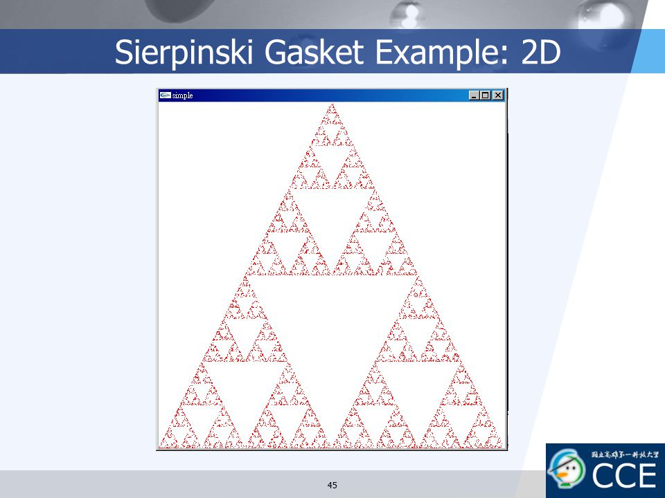 Sierpinski Gasket Example: 2D 45