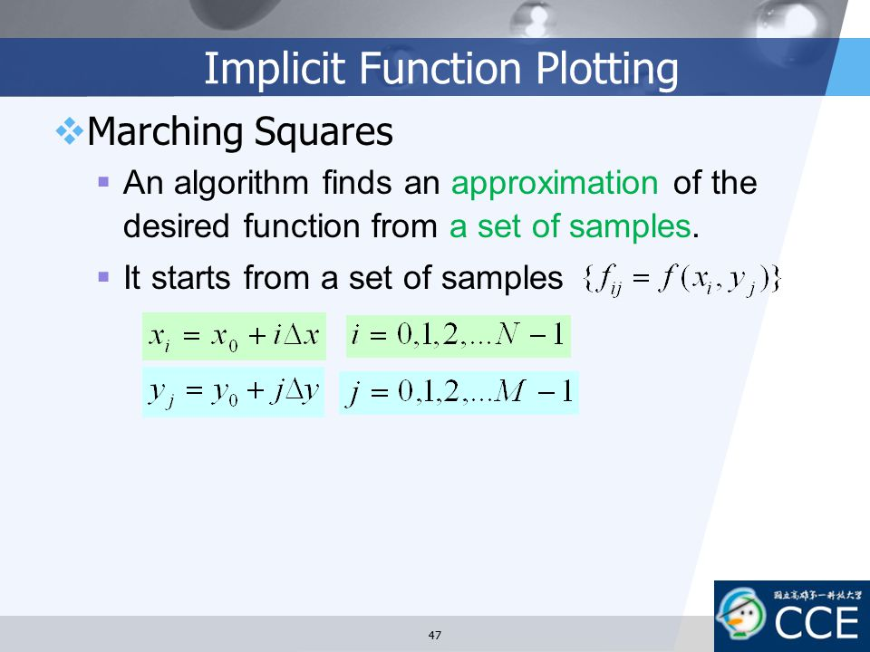 Implicit Function Plotting  Marching Squares  An algorithm finds an approximation of the desired function from a set of samples.  It starts from a