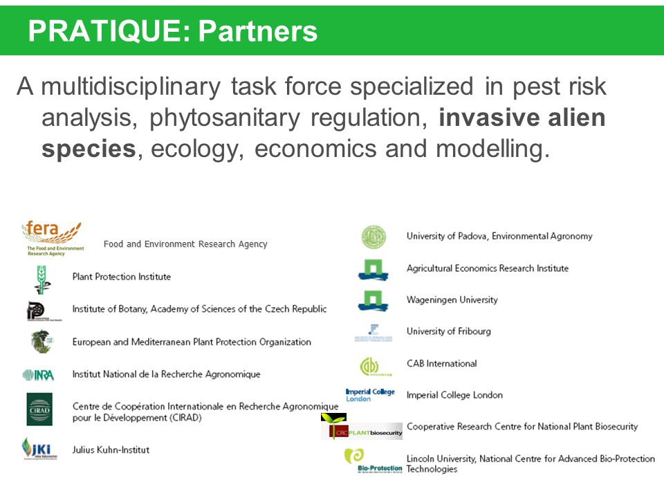 PRATIQUE: Partners A multidisciplinary task force specialized in pest risk analysis, phytosanitary regulation, invasive alien species, ecology, econom