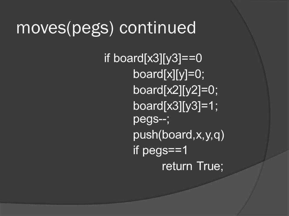 moves(pegs) continued if board[x3][y3]==0 board[x][y]=0; board[x2][y2]=0; board[x3][y3]=1; pegs--; push(board,x,y,q) if pegs==1 return True;