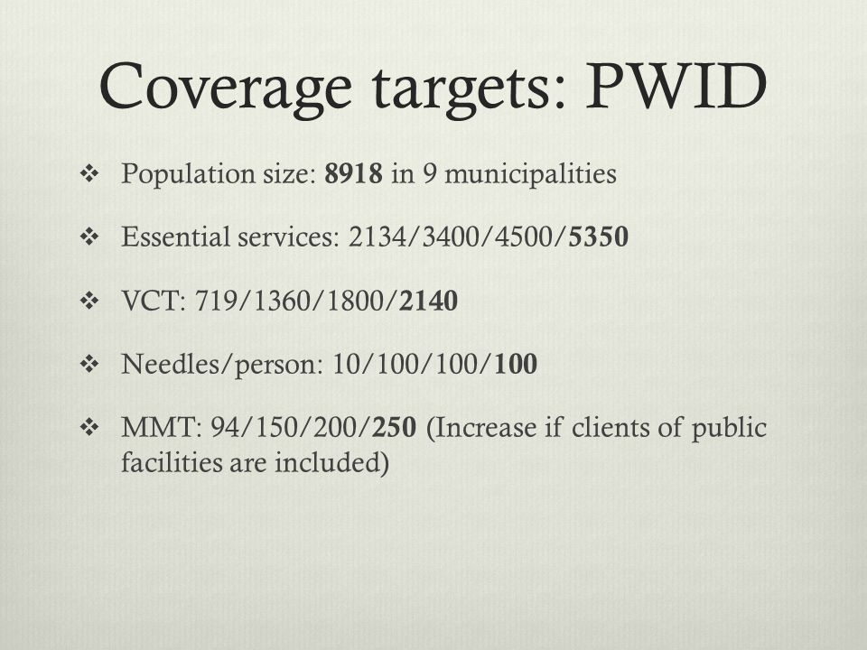 Coverage targets: PWID  Population size: 8918 in 9 municipalities  Essential services: 2134/3400/4500/ 5350  VCT: 719/1360/1800/ 2140  Needles/person: 10/100/100/ 100  MMT: 94/150/200/ 250 (Increase if clients of public facilities are included)