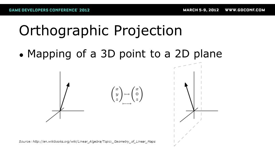 Orthographic Projection ● Mapping of a 3D point to a 2D plane Source: