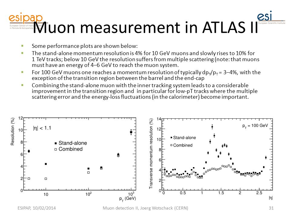 Muon measurement in ATLAS II  Some performance plots are shown below:  The stand-alone momentum resolution is 4% for 10 GeV muons and slowly rises to 10% for 1 TeV tracks; below 10 GeV the resolution suffers from multiple scattering (note: that muons must have an energy of 4–6 GeV to reach the muon system.