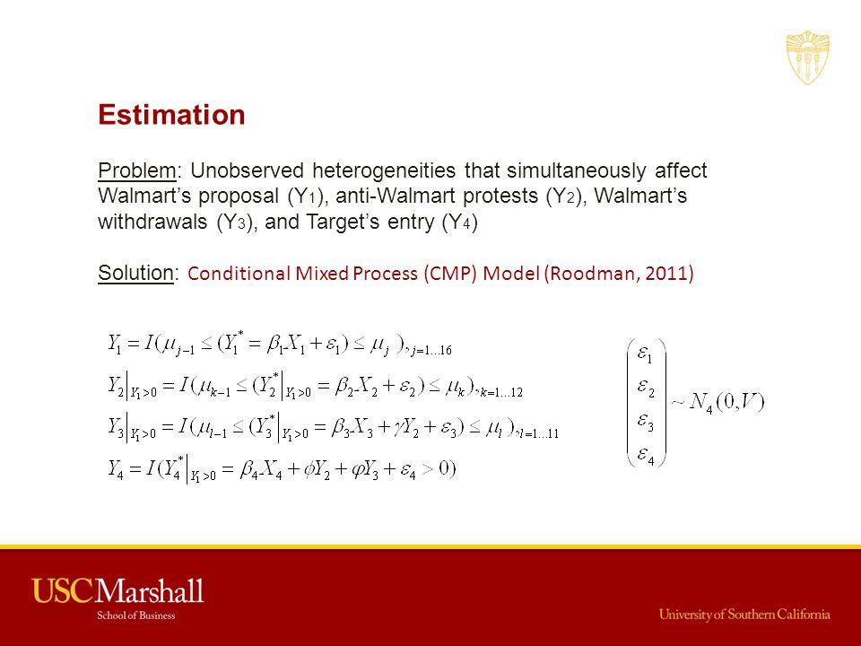 Estimation Problem: Unobserved heterogeneities that simultaneously affect Walmart's proposal (Y 1 ), anti-Walmart protests (Y 2 ), Walmart's withdrawa