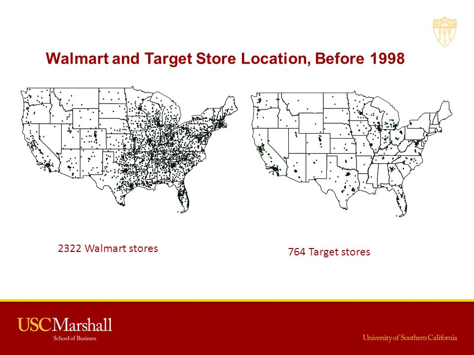 Walmart and Target Store Location, Before 1998 2322 Walmart stores 764 Target stores