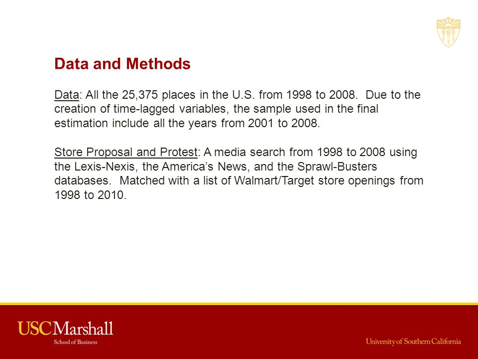 Data and Methods Data: All the 25,375 places in the U.S. from 1998 to 2008. Due to the creation of time-lagged variables, the sample used in the final