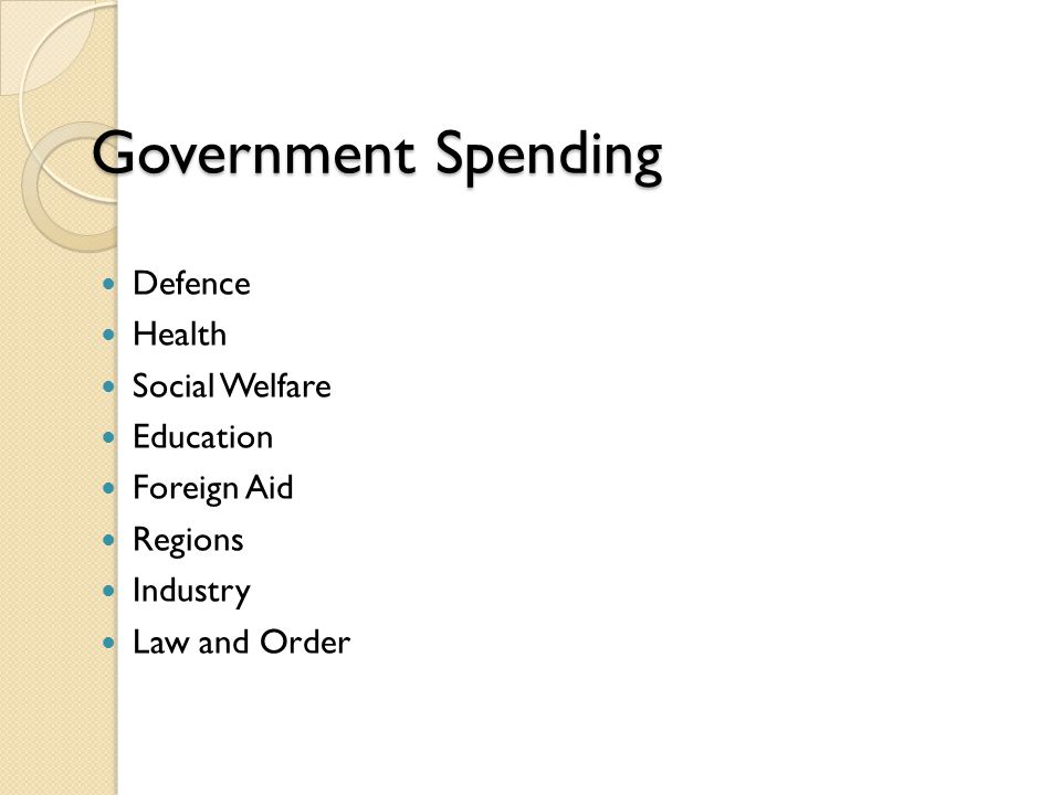 Government Spending Defence Health Social Welfare Education Foreign Aid Regions Industry Law and Order