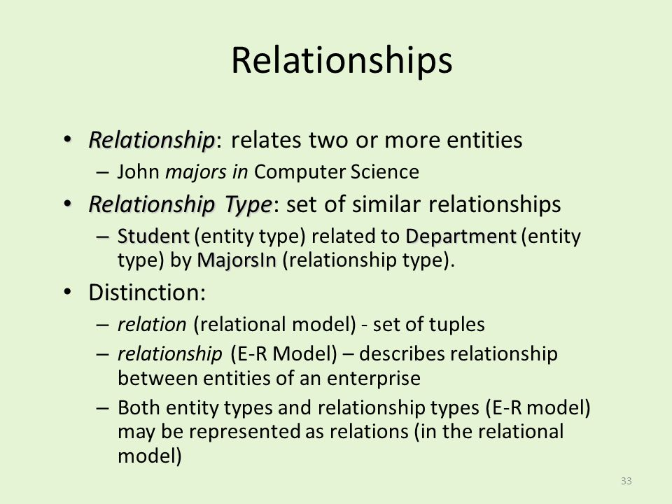 33 Relationships Relationship Relationship: relates two or more entities – John majors in Computer Science Relationship Type Relationship Type: set of