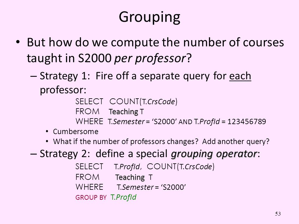 53 Grouping But how do we compute the number of courses taught in S2000 per professor? – Strategy 1: Fire off a separate query for each professor: SEL