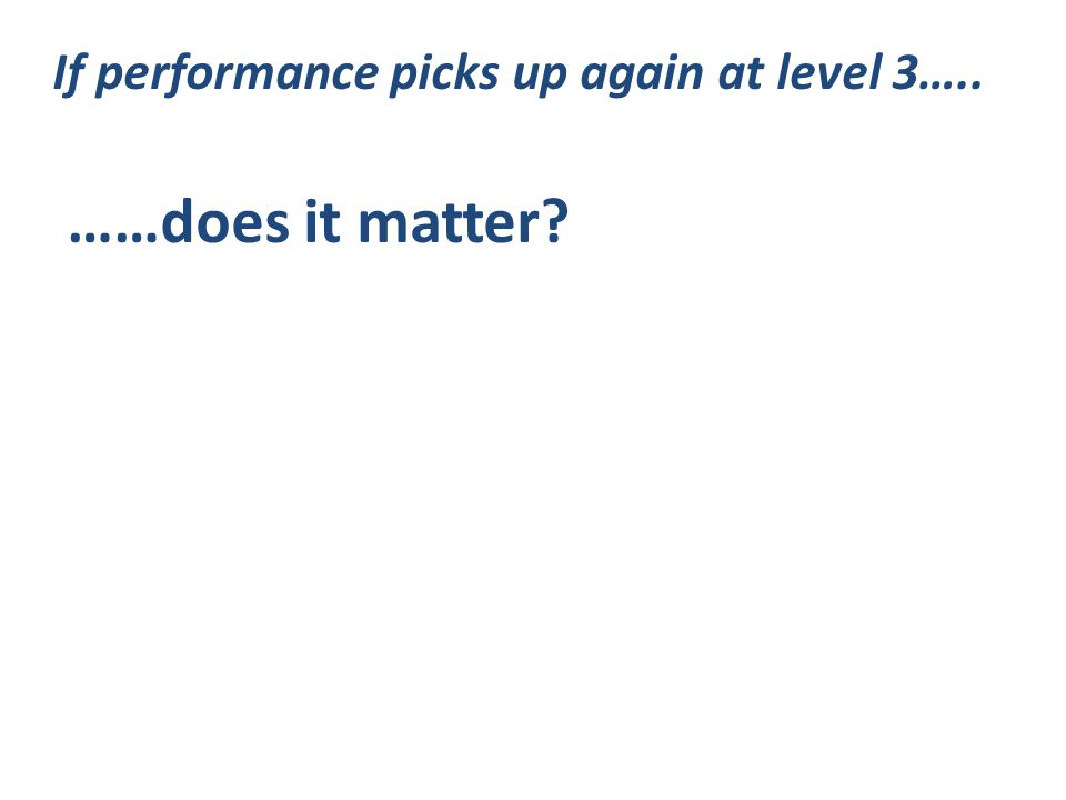 If performance picks up again at level 3….. ……does it matter