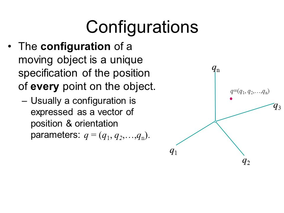 Configurations The configuration of a moving object is a unique specification of the position of every point on the object.