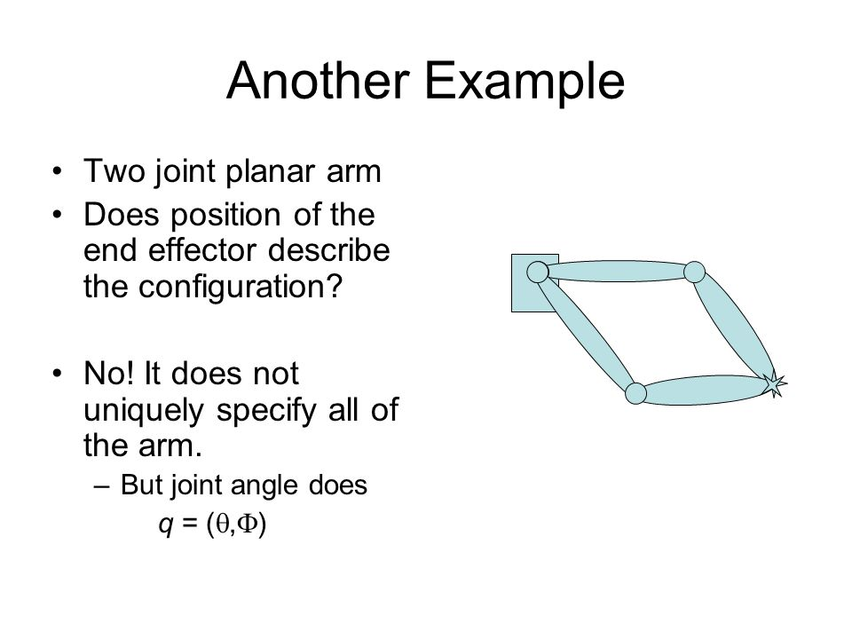 Another Example Two joint planar arm Does position of the end effector describe the configuration.