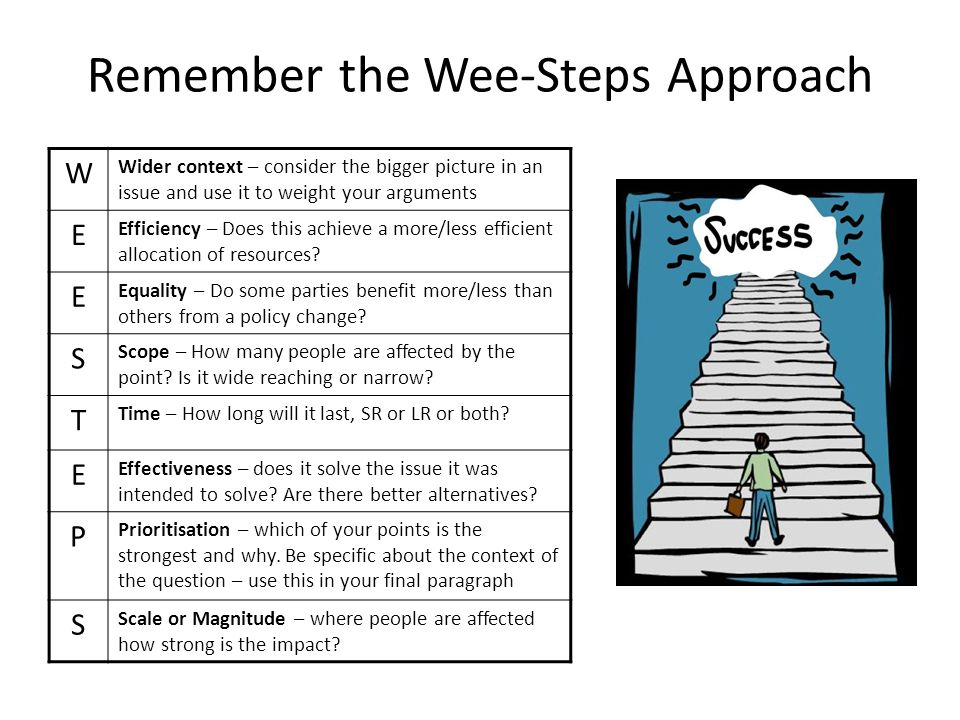 Remember the Wee-Steps Approach W Wider context – consider the bigger picture in an issue and use it to weight your arguments E Efficiency – Does this