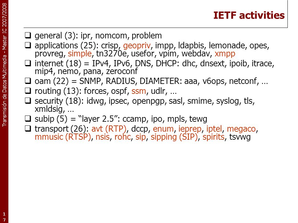 Transmisión de Datos Multimedia - Master IC 2007/2008 17 IETF activities  general (3): ipr, nomcom, problem  applications (25): crisp, geopriv, impp