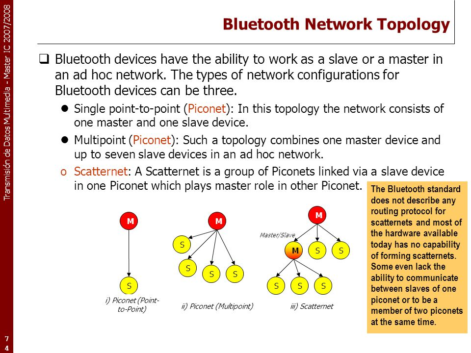 Transmisión de Datos Multimedia - Master IC 2007/2008 74 Bluetooth Network Topology  Bluetooth devices have the ability to work as a slave or a maste