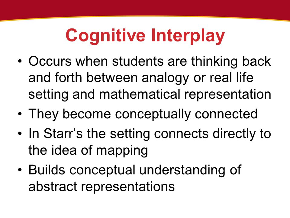Cognitive Interplay Occurs when students are thinking back and forth between analogy or real life setting and mathematical representation They become conceptually connected In Starr's the setting connects directly to the idea of mapping Builds conceptual understanding of abstract representations