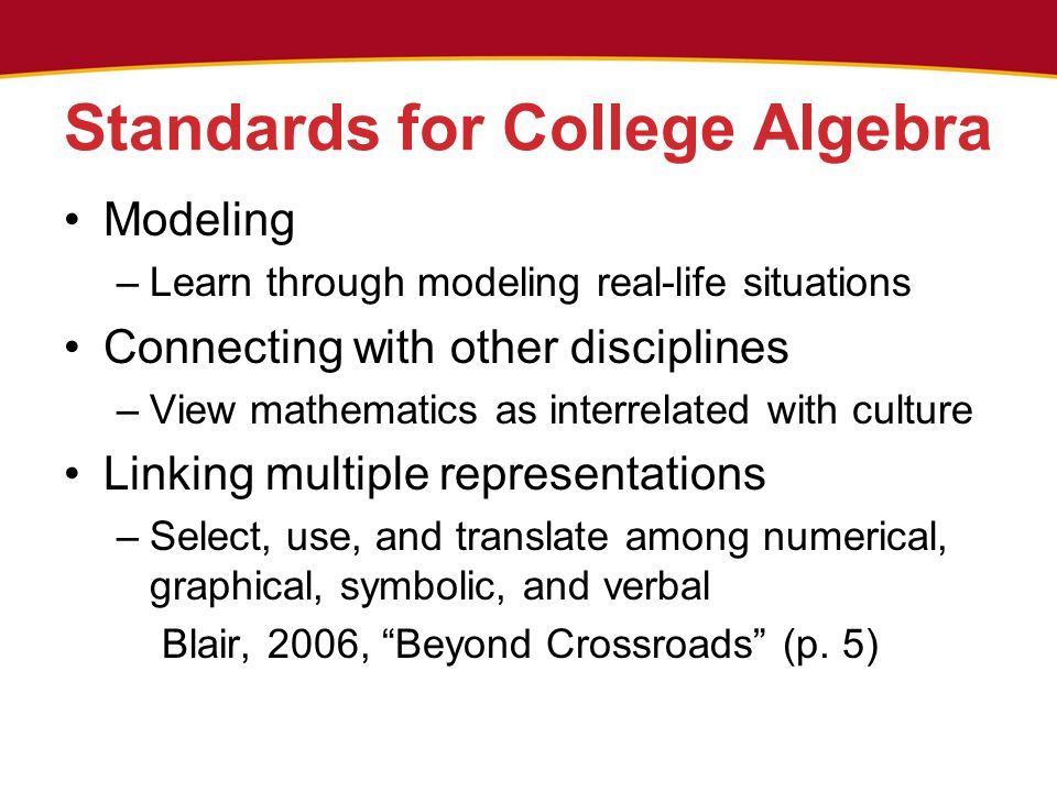 Standards for College Algebra Modeling –Learn through modeling real-life situations Connecting with other disciplines –View mathematics as interrelated with culture Linking multiple representations –Select, use, and translate among numerical, graphical, symbolic, and verbal Blair, 2006, Beyond Crossroads (p.