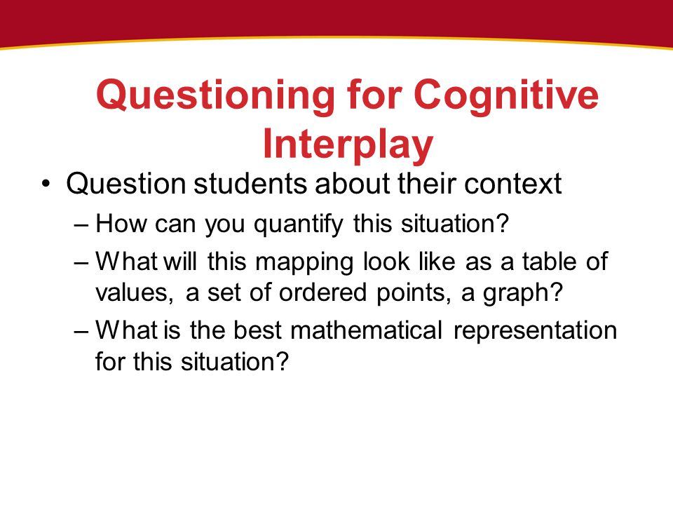Questioning for Cognitive Interplay Question students about their context –How can you quantify this situation? –What will this mapping look like as a