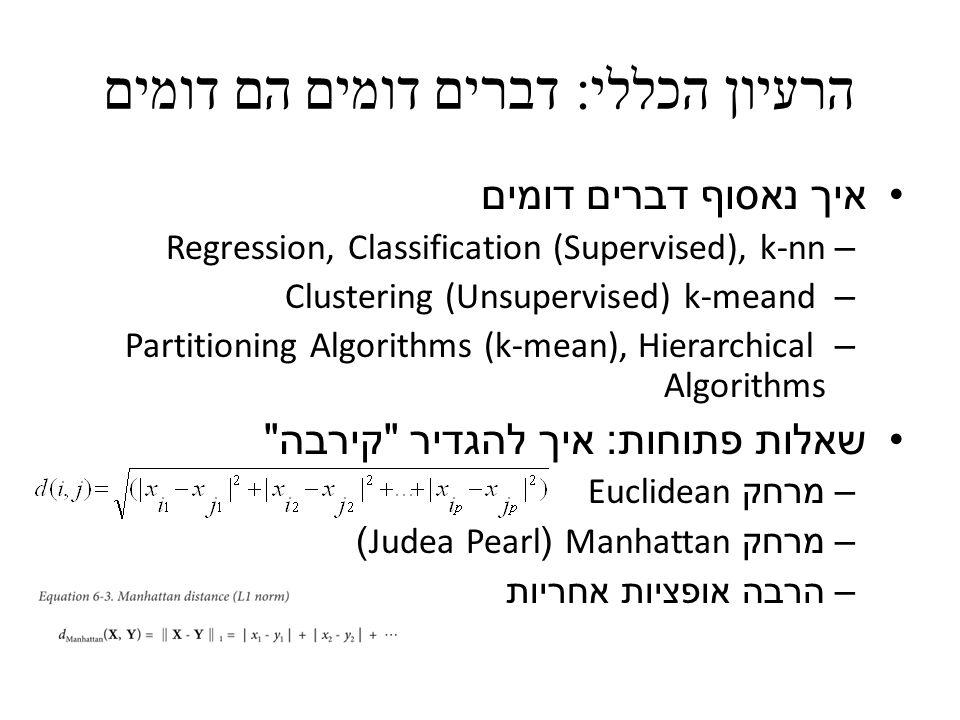 הרעיון הכללי : דברים דומים הם דומים איך נאסוף דברים דומים – Regression, Classification (Supervised), k-nn – Clustering (Unsupervised) k-meand – Partit