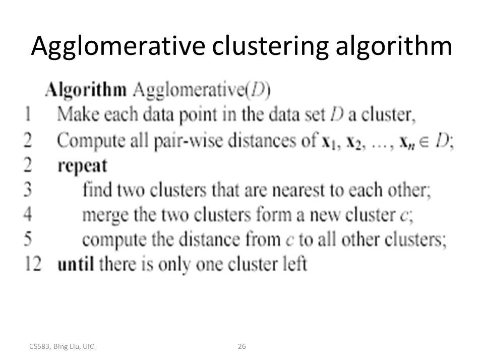 CS583, Bing Liu, UIC26 Agglomerative clustering algorithm