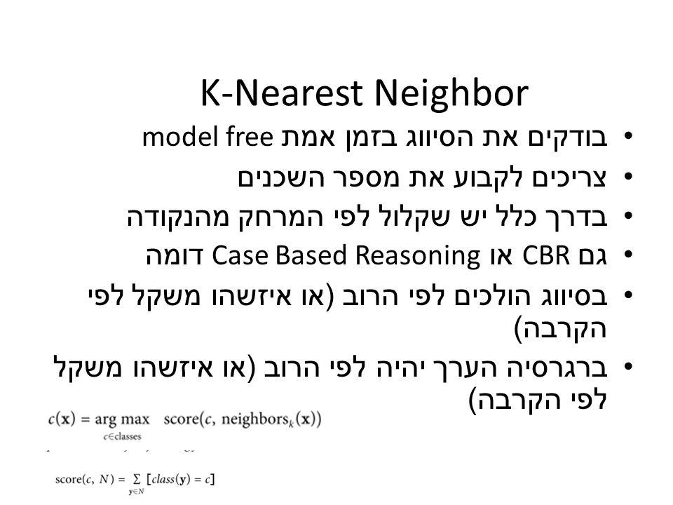 K-Nearest Neighbor בודקים את הסיווג בזמן אמת model free צריכים לקבוע את מספר השכנים בדרך כלל יש שקלול לפי המרחק מהנקודה גם CBR או Case Based Reasoning
