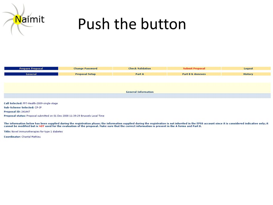 Push the button Naimit