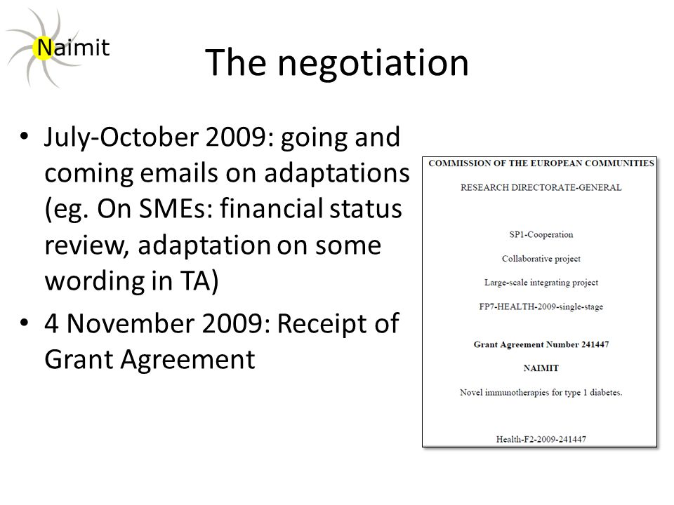 The negotiation July-October 2009: going and coming emails on adaptations (eg.
