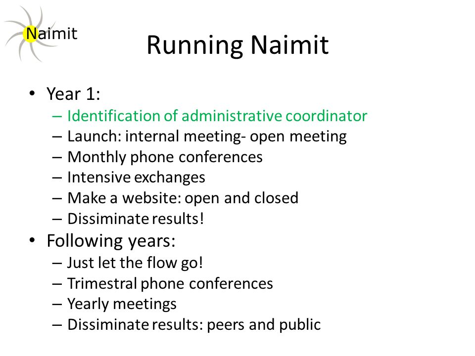 Running Naimit Year 1: – Identification of administrative coordinator – Launch: internal meeting- open meeting – Monthly phone conferences – Intensive exchanges – Make a website: open and closed – Dissiminate results.