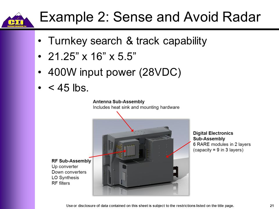Example 2: Sense and Avoid Radar Turnkey search & track capability 21.25 x 16 x 5.5 400W input power (28VDC) < 45 lbs.
